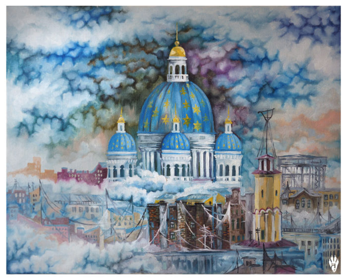"Trinity Cathedral in the clouds. ""The Air of Petersburg"" Ekaterina Frolova"